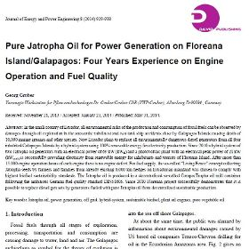Pure Jatropha Oil for Power Generation on Floreana Island/Galapagos