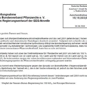 Stellungnahme des Bundesverbands für Pflanzenöle e. V. April 2008