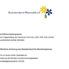 Bundestagsanhörung Bundesverband für Pflanzenöle e. V. April 2008